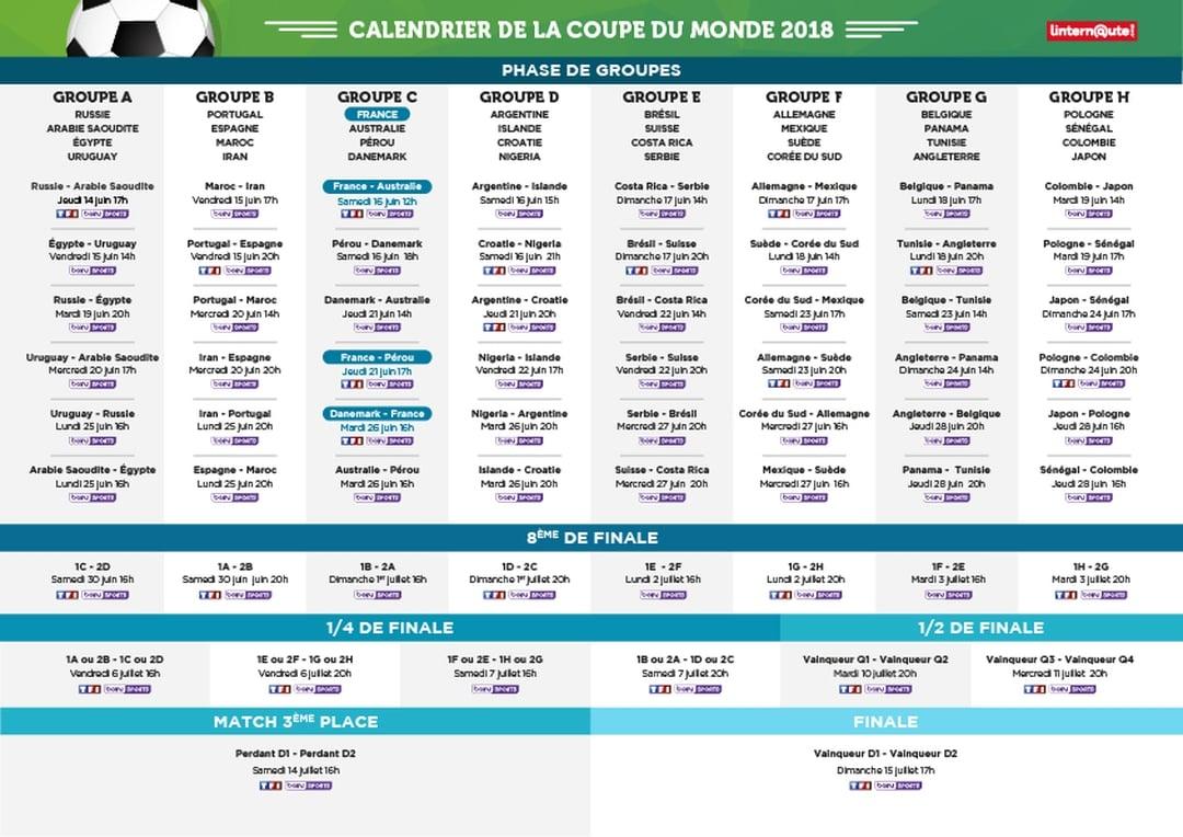 calendrier des rencontres de football